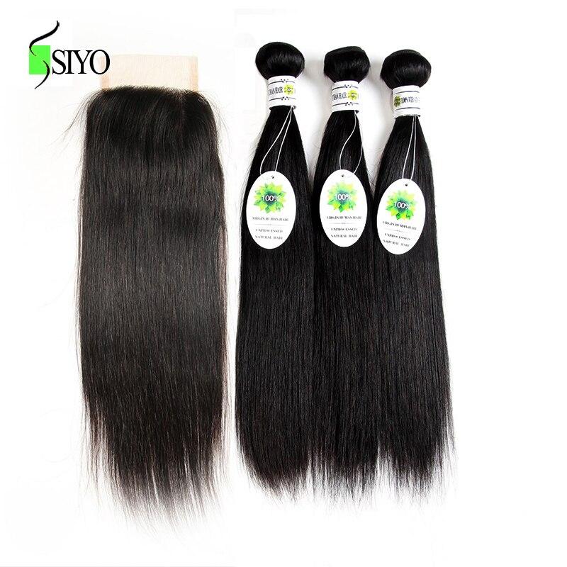 Siyo Hair Straight Hair Bundles With Closure 3 Bundle Peruvian Hair Free Part Lace Non Remy Human Hair Bundles with Closure