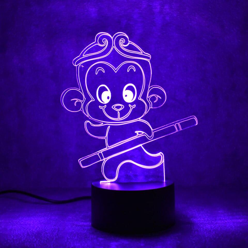 3D Led визуальное творческий USB детские подарки настольный светильник для постели декора животных обезьяна Форма лампа Украшения в спальню ос...