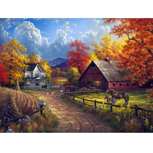 Moge  Diamond Painting Natural house landscape embroidery Country villa scenic Mosaic nature full round