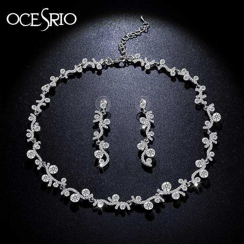 OCESRIO Crystal Bridal Jewelry Sets Leaf Rhinestone Long Earrings Wedding Choker Necklace for Women Fashion Accessories nke-n28