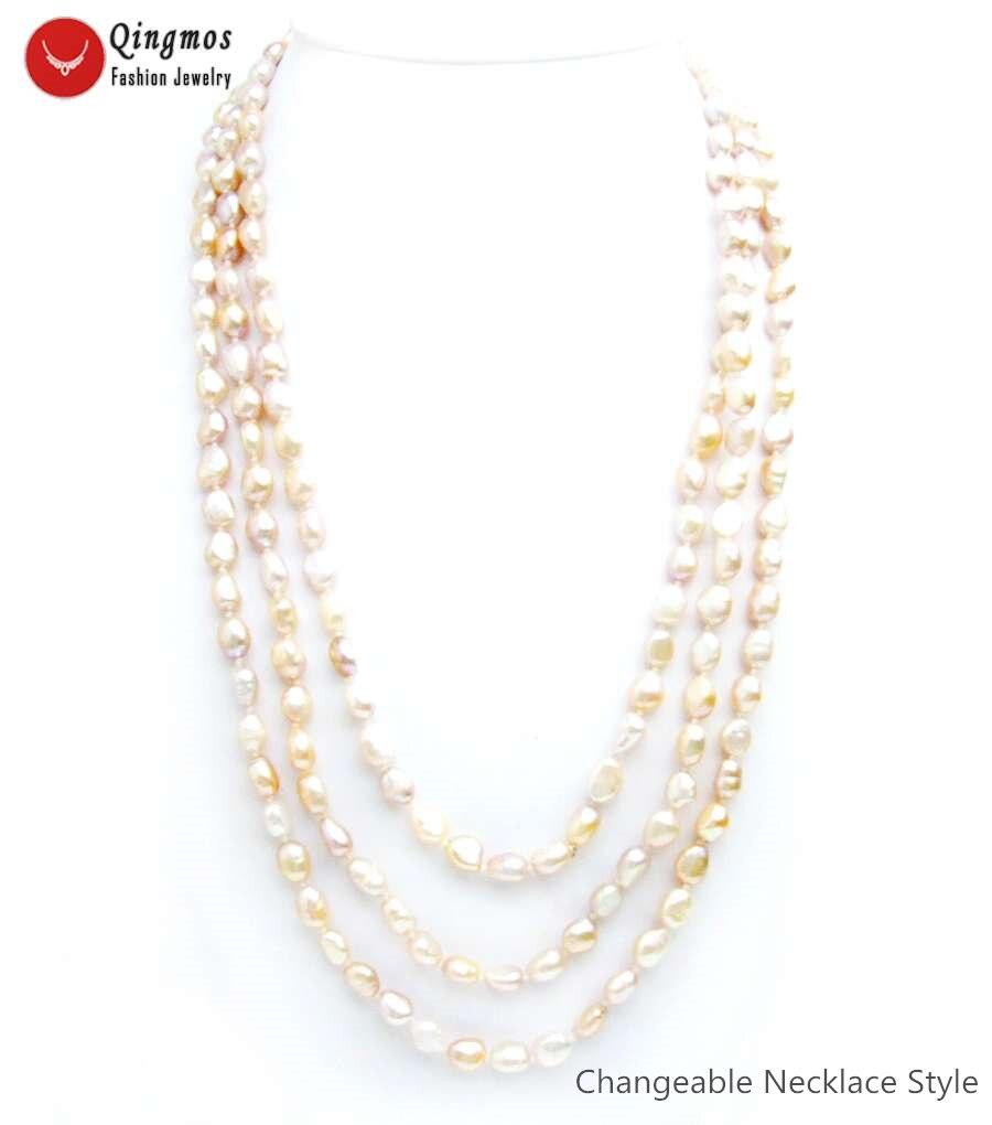 Qingmos collier de perles naturelles à la mode pour les femmes avec 7-9mm Baroque violet perle longs colliers bijoux pull 80 ''Colar N6558