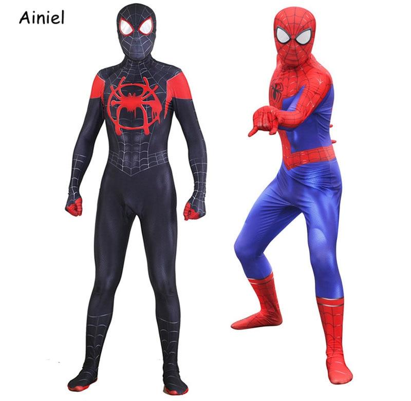 Movie Spider Man:Into The Spider-Verse  Cosplay Costume Peter Parker Adult Children Boys Spiderman Bodysuit Superhero Zentai Men