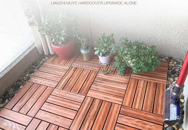 11pcs 30x30cm Carbonized Wood Terrace Patio Courtyard Garden Outdoor Floor  Antiseptic Wood Splicing Solid Wood DIY