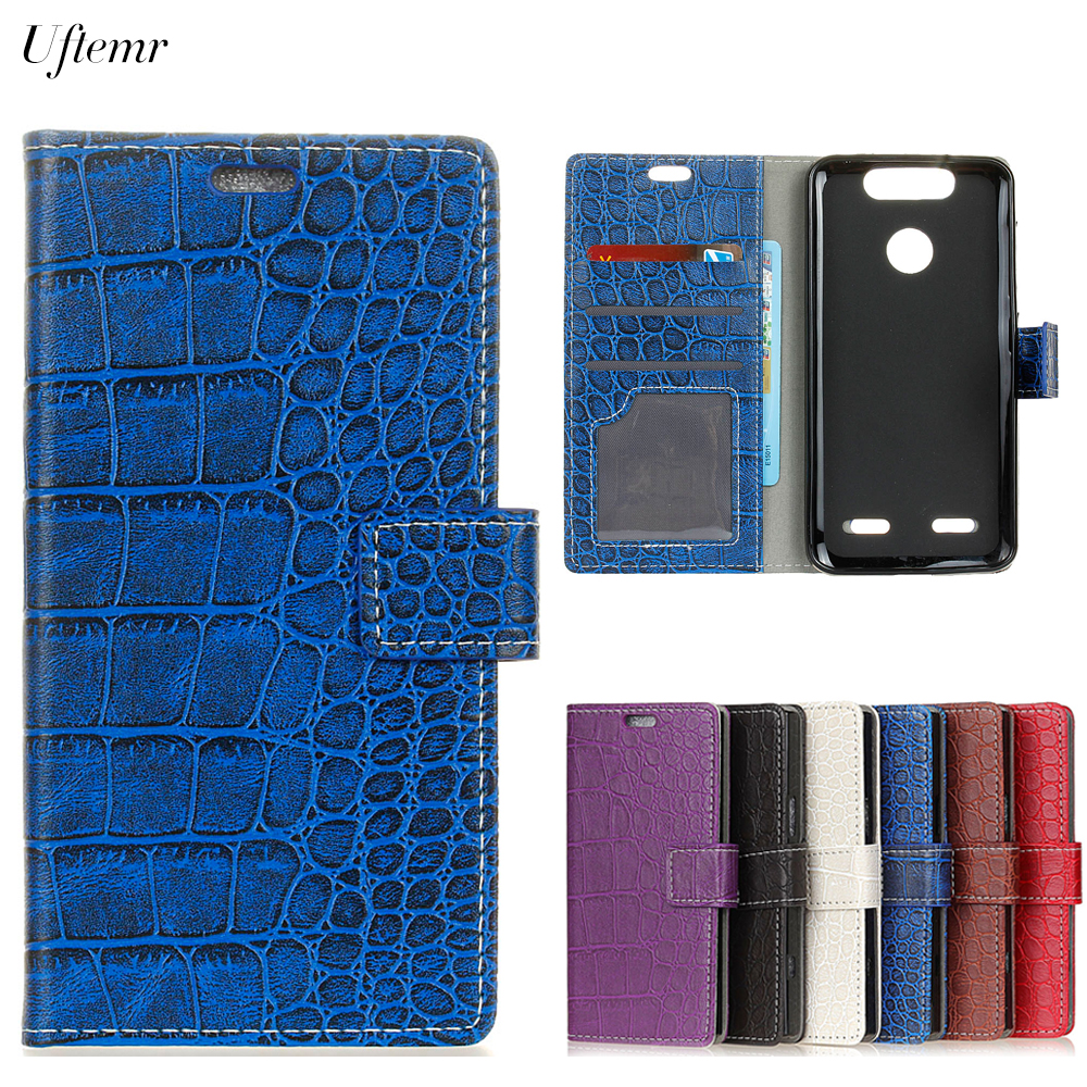 Uftemr Vintage Crocodile PU Leather Cover For ZTE Blade V8 Lite/ V8 Mini Protective Silicone Case Wallet Card Slot Acessories