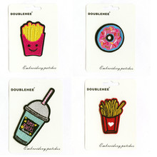 Food Drink Doughnut Supermarket Gift Card Specification Patch Embroidered Iron On Patches Cloth Coat Bag Shoes DIY Accessories