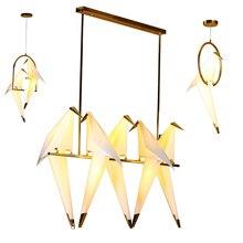 נורדי ציפור ברזל תליון אור נייר מנוף LED מנורת השעיה Luminaire לופט סלון מסעדת תליון מנורה