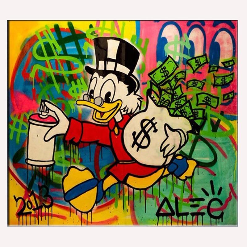 Handmade pop art Alec Graffiti art Custom painting money on canvas wall urban pictures for living room street art