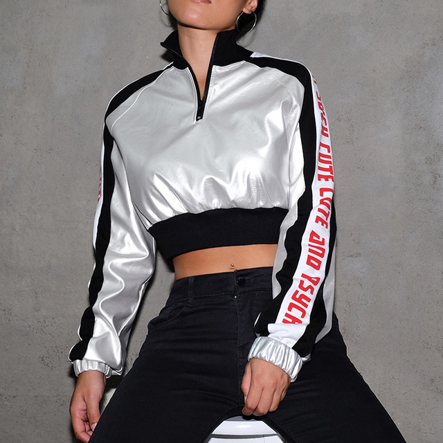 street dance clothing women rave outfit holographic bodysuit silver dance  crop top high neck women jazz dance c91e219db41e