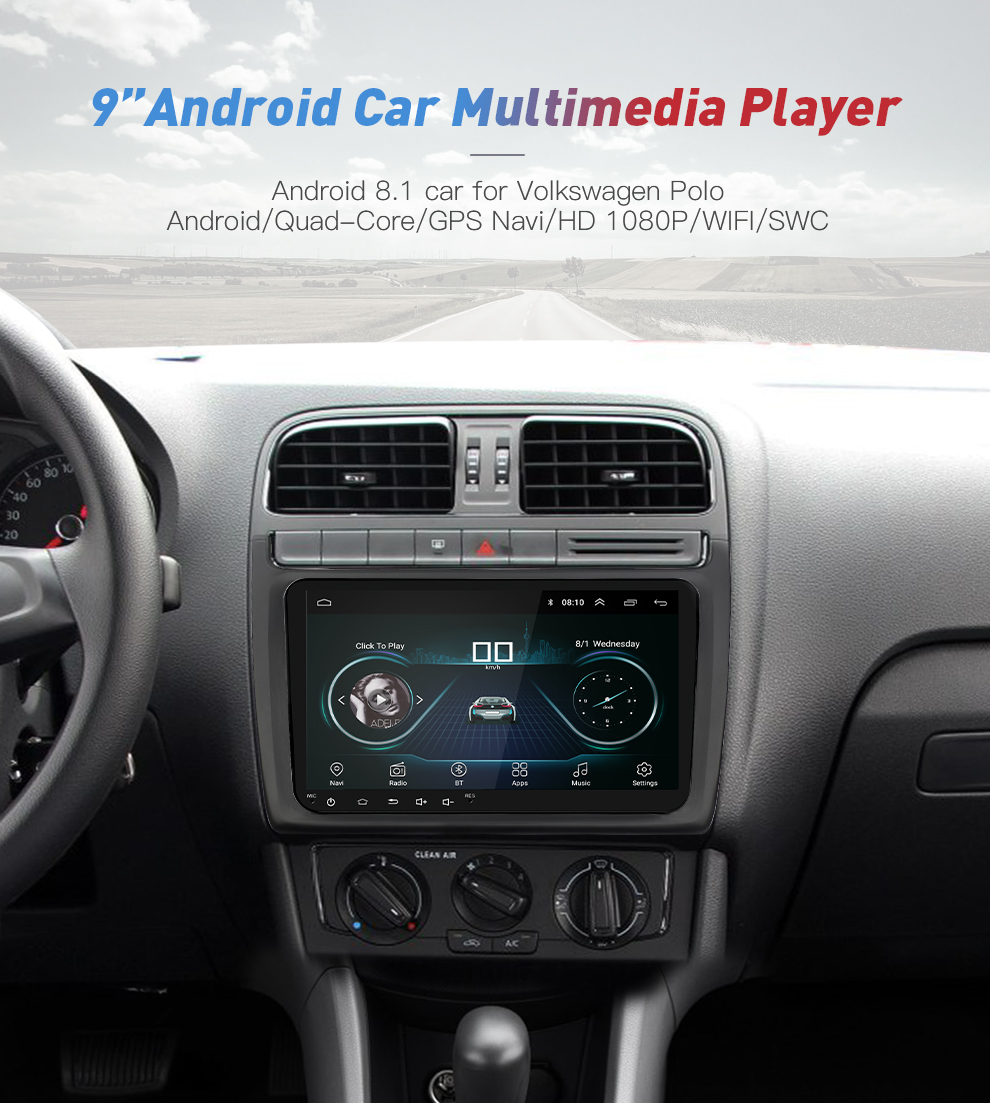 New 9 inch Car Multimedia Player Android 8 GPS Auto radio 2 Din USB For VolkswagenVW PassatPOLOGOLFSkodaSeatLeon Radio (2)