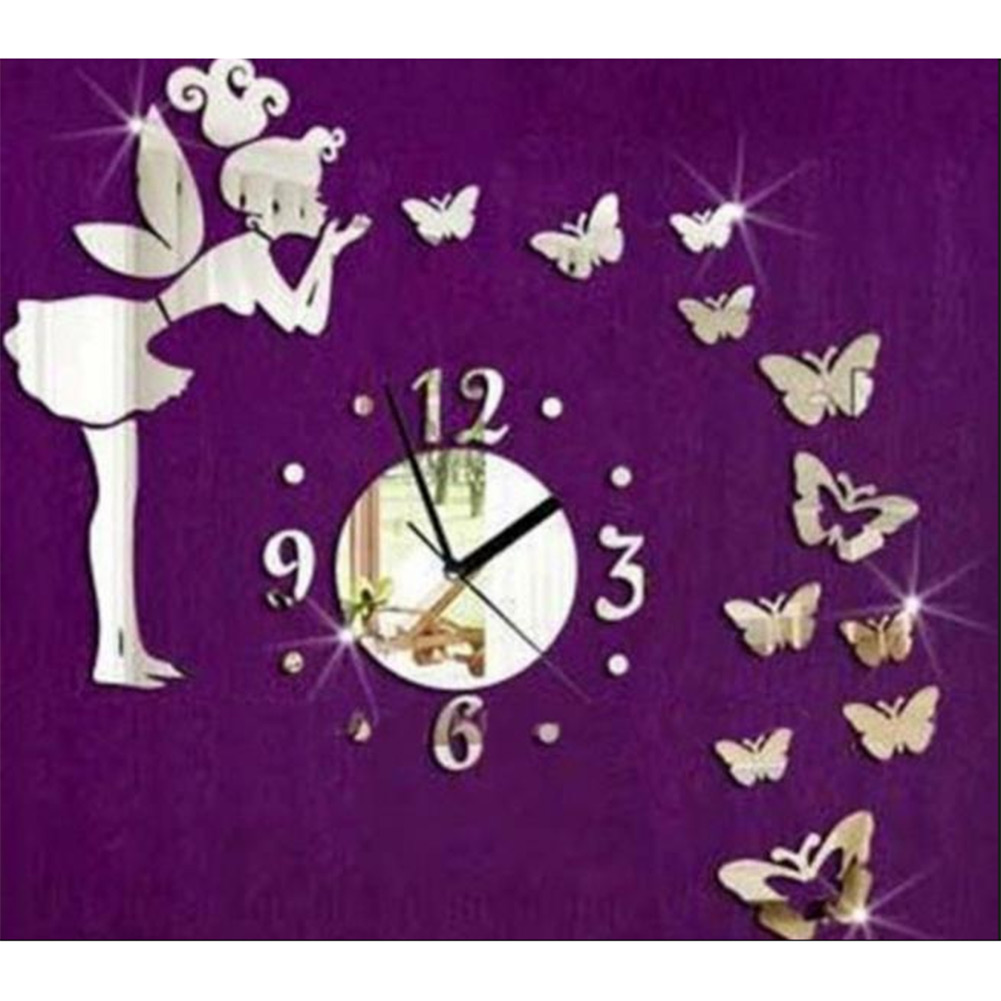 wall stickers Fairy Butterfly Silver Acrylic Mirror Wall Clock