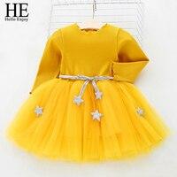 New Born Baby Girl Birthday Party Wedding Dress 2018 Spring Long Sleeves Stars Net Yarn Tutu