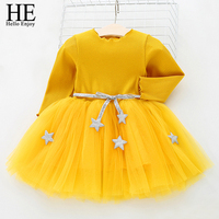 New Born Baby Girl Birthday Party Wedding Dress 2018 Spring Long Sleeves Stars Net Yarn Tutu
