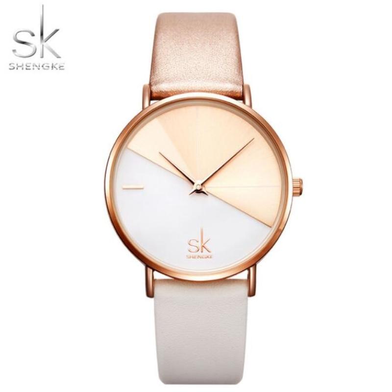 Relogio Feminino SK Women's Watches Shengke Top Brand Luxury Rose Gold Watch Women Creative Fashion Casual Watches Leather Clock