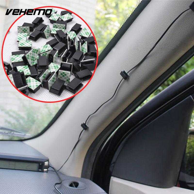 Vehemo 30Pcs/Set Wire Tie Cable Clip Car Audio Cable Universal