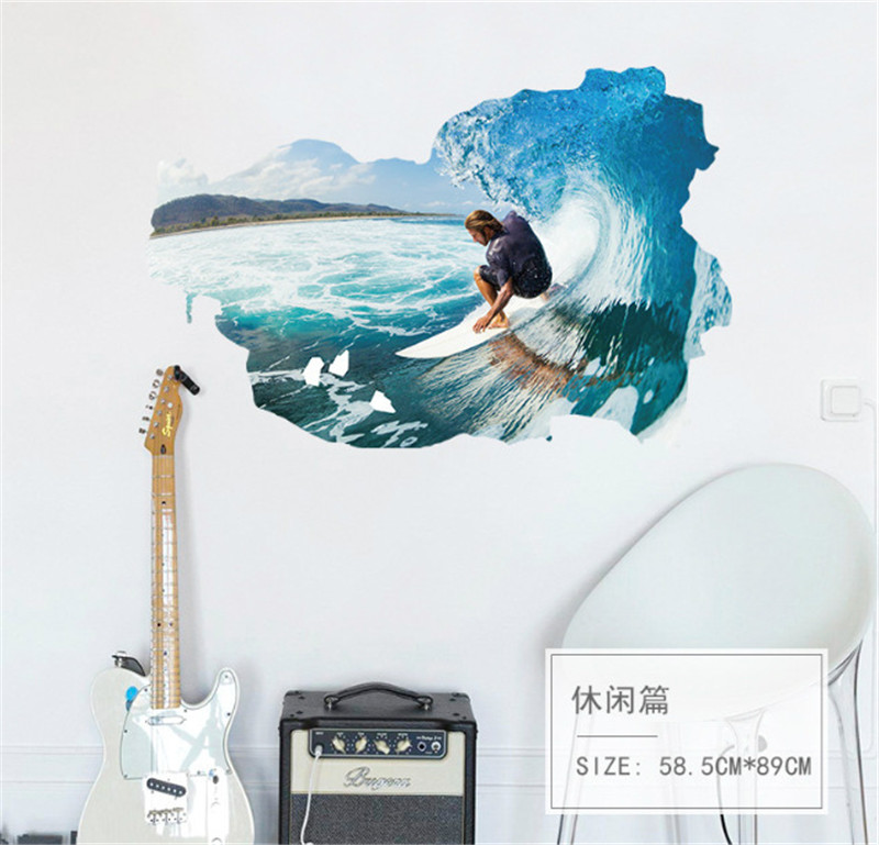Surf deportes 3d etiqueta de la pared para niños sala de juegos dormitorio decor