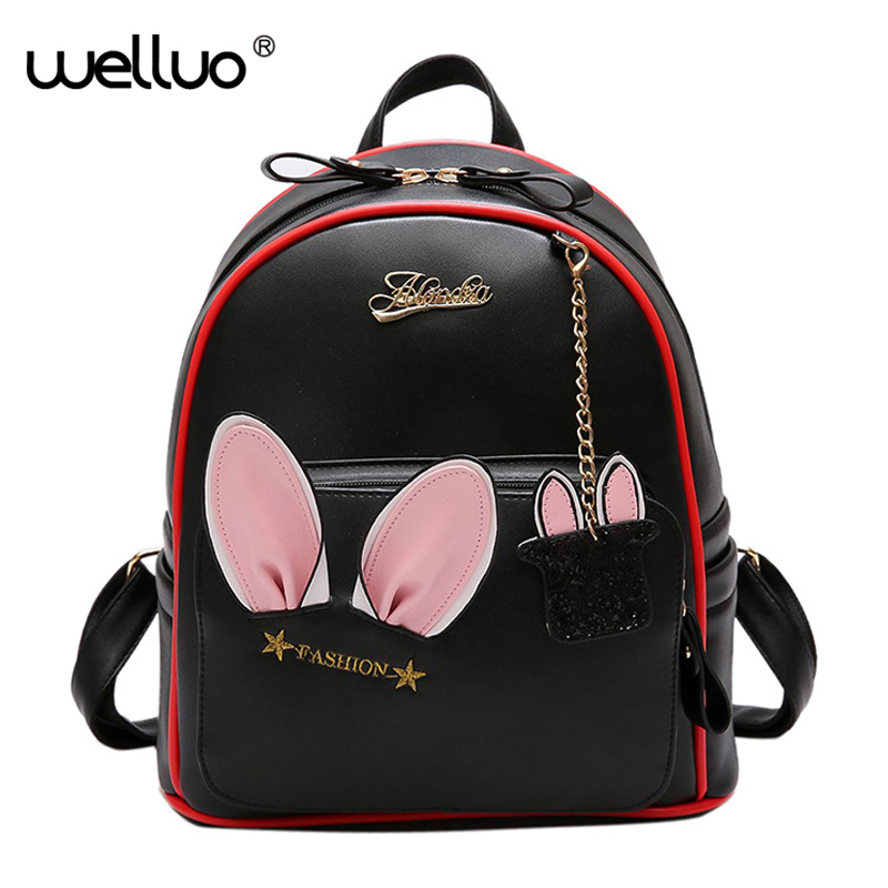 цена Women Cute PU Leather Backpack Rabbit Ears Bag For Female Kawaii Bookbag Backpacks Teenage Girls School Solid Bags mochila XA733