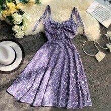 Purple Flower Women Beach Dress Strapless High Waist Chiffon Bow Sleeveless Mini