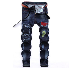 High quality brand jeans Fashion casual hole hip hop ripped men's jeans Straight moto biker jeans men denim trousers