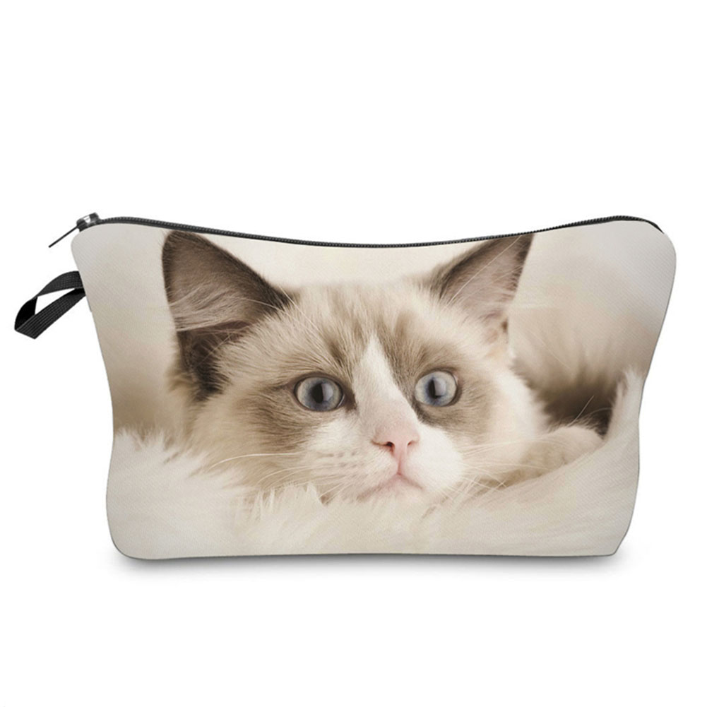 Hot Sale Ladies Cute 3D Cat Pattern Travel Makeup Bag Fashion Women Female Cosmetics Organizer Pouch Storage Bags Popular 3d florals pattern u pouch design voile briefs