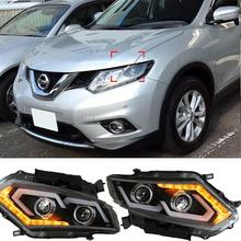 Newest LED Headlights for Nissan X-Trail Rouge 2014 2015 Headlight Turn Signal DRL Bi-Xenon Lens Low Beam Head Lights