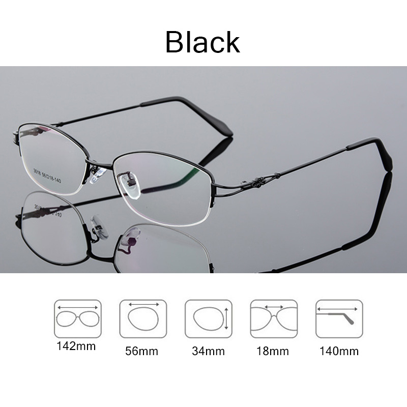 Titanium Alloy Half frame Eyeglasses Woman Ultra Light Weight Optical Myopia glasses Frames female Eyewear Spectacles Q140 in Women 39 s Eyewear Frames from Apparel Accessories