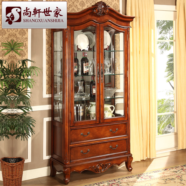 American style solid wood wine cabinet furniture brief corner cabinet partition glass hall cabinet storage cabinet j601 12-in Sideboards from Furniture on ... & American style solid wood wine cabinet furniture brief corner ...