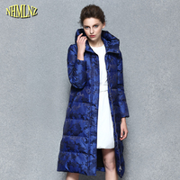 Casual Thick Warm Long Cotton Coat 2018 New Winter coat European style Women printing Long Hooded Zipper Female Outerwear WK325