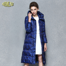 Casual Thick Warm Long Cotton Coat 2017 New Winter coat European style Women printing Long Hooded Zipper Female Outerwear WK325