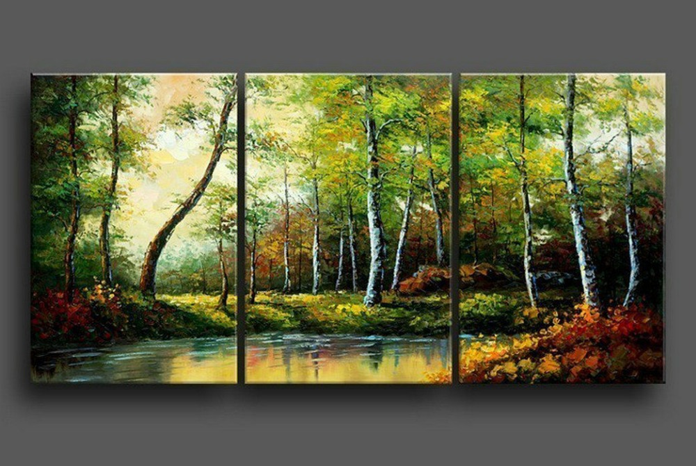 Wall Decoration Tree Painting: Hand Painted Stretched Framed Oil Wall Art Green Forest