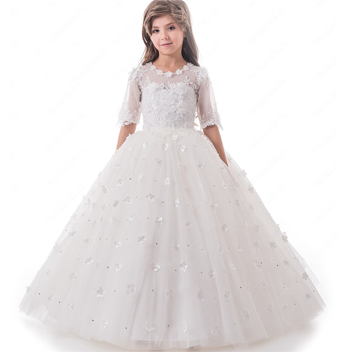 Hot Sale White Princess Flower Girl Dresses Appliques Handmade Flowers First Communion Dress White/Ivory