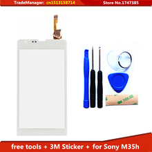 Tools+3M Sticker Original Touch Screen For Sony Xperia SP M35h c5302 c5303 Glass Capacitive sensor TouchScreen (Black Stock)