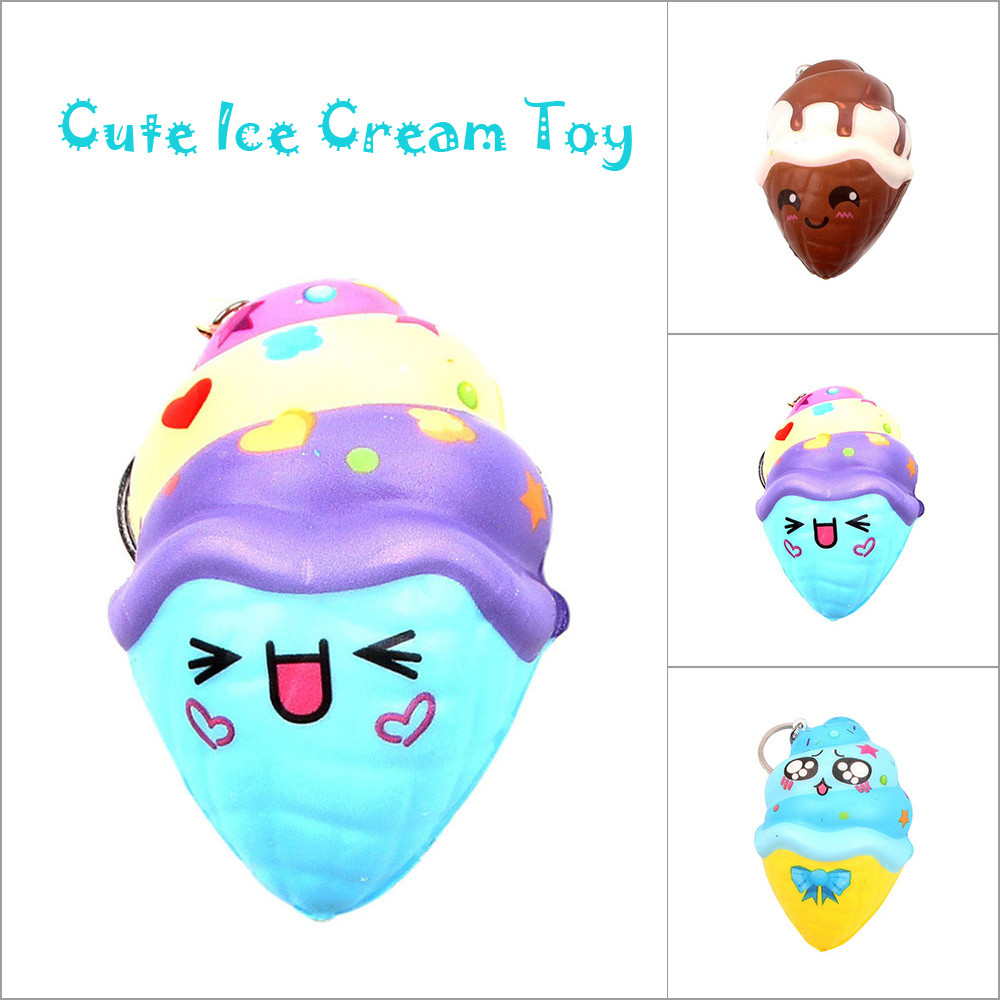 Stress Reliever Keychain Interesting Cute Ice Cream Scented Super Slow Rising Squeeze Toy Gifts For Kids L0620