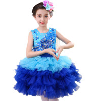 Girls Costumes Children Chorus Suits Elementary And Middle School Students Performing Dress Sequins Puffy Dance Skirt