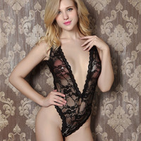 Sexy Porn Lingerie Women Sexy Bodysuit Teddy Erotic Costumes Black Red Lace Underwear Set Bodystocking 2017