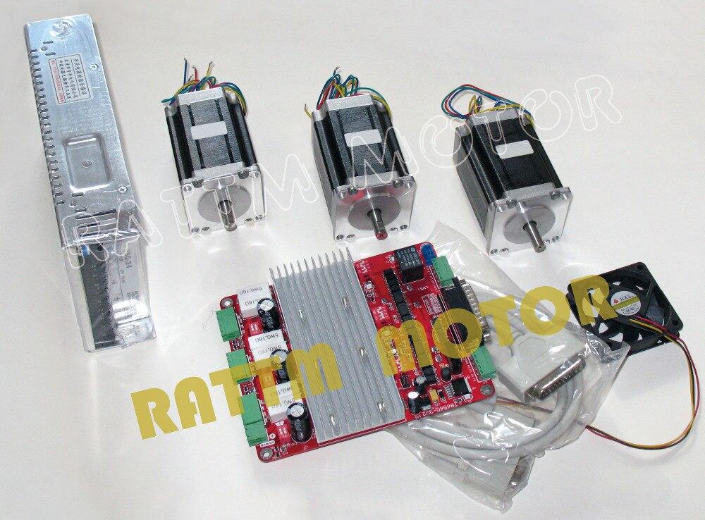 3 axis cnc stepper kit 3 nema23 76mm 3 0a 270 oz in for 3 axis nema 23 stepper motor driver controller cnc kit