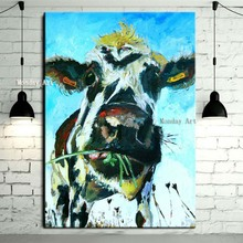 100% Hand Painted Acrylic cow Painting Wall Art Picture modern Animal Oil on Canvas Modern artwork picture Home Decor