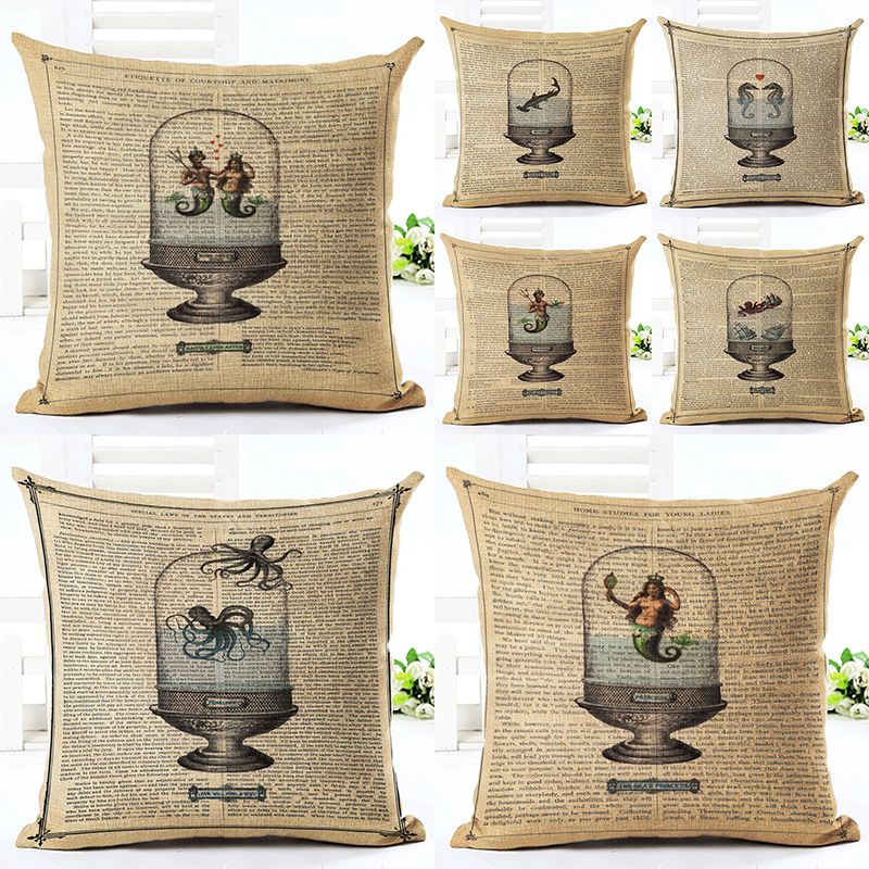 Online Retro Throw Pillow Cushion Home Decor Couch Newspaper Seafood Printed Linen Cuscino Square Cushion Cojines