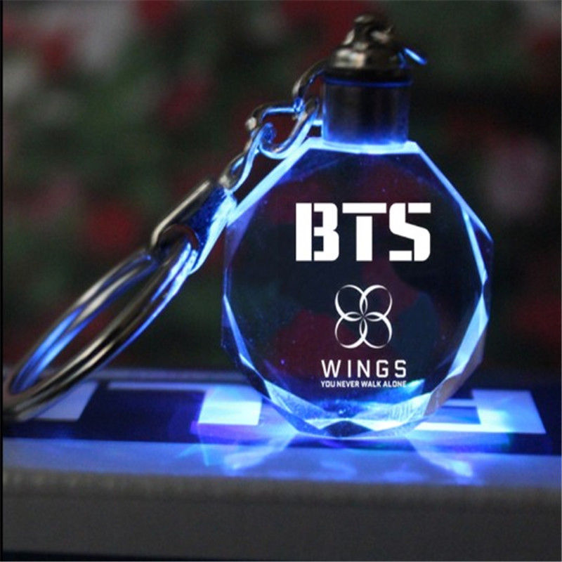 Kpop BTS Keychain EXO GOT7 DIY LED Crystal Key Chain Bangtan Boys Wings Keyring BTS KPOP Accessories Fans Gift ...