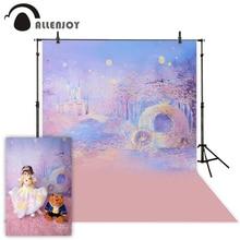 Allenjoy Photography Background Blue Bokeh Background Night Castle Boy Girl Summer Backdrops For Photo Studio Camera Fotografica