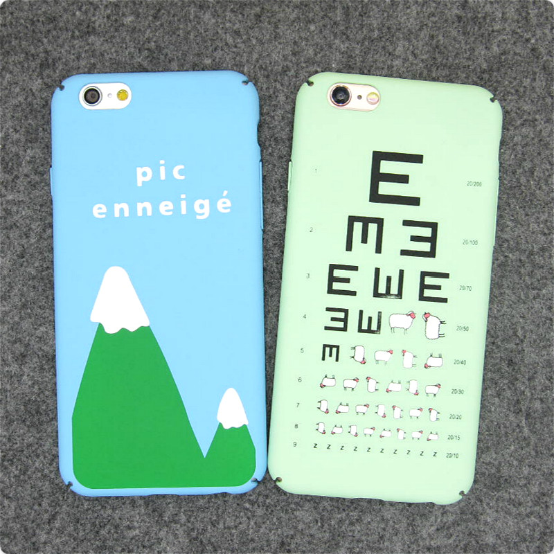 Fashion Cartoon Eye Chart Mountain Matte Plastic Back Cover For