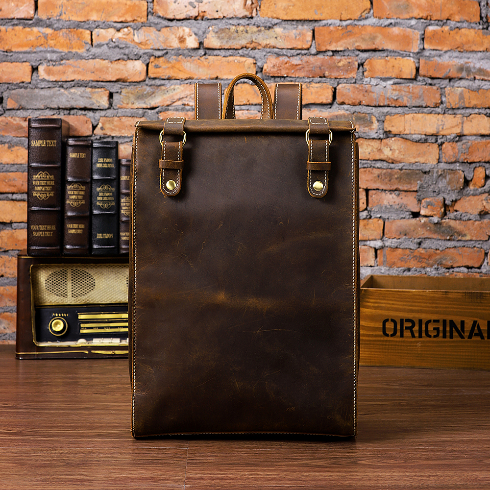 2018 First Layer of Leather Large Capacity Men Shoulder Bag Fashion Retro Computer Leather Backpack Leisure Wear Travel Backpack new korean version of the first layer of leather shoulder bag leisure travel bag fashion leather wild cat ears backpack