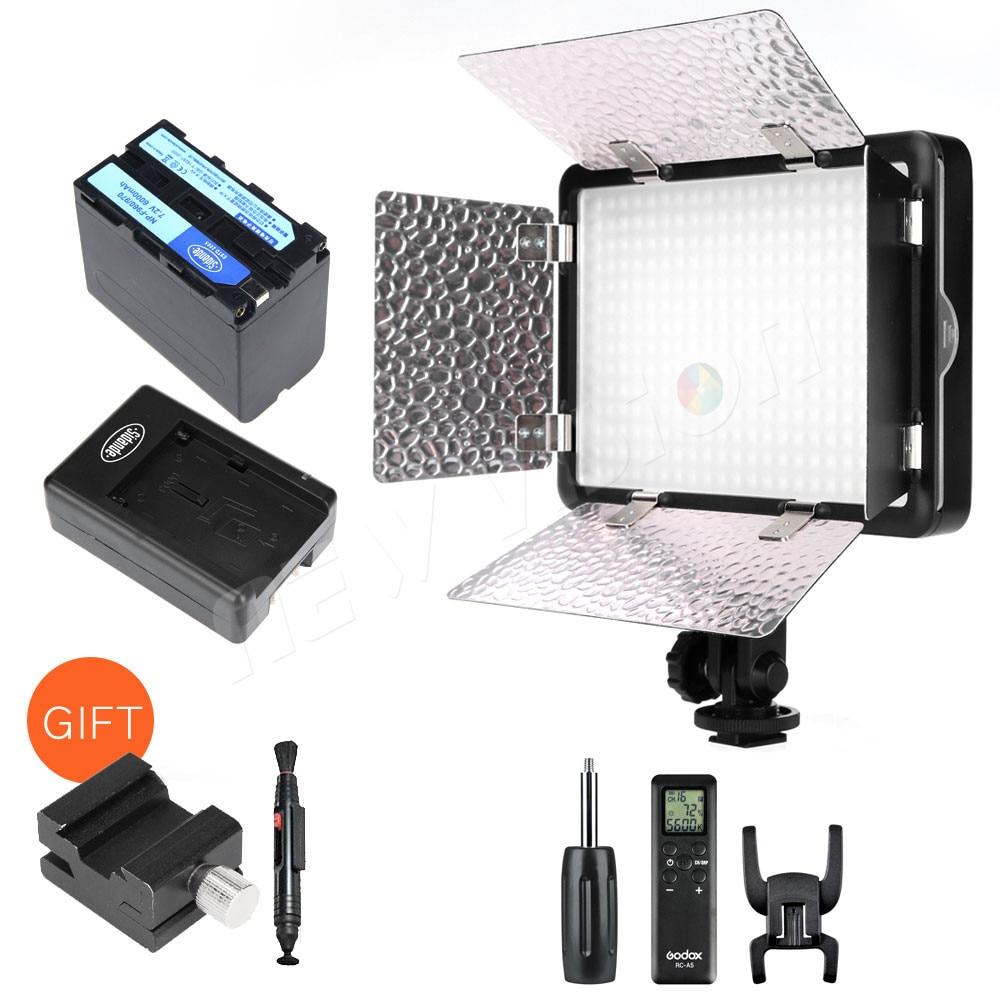 Godox LED308C II LED308 3300K-5600K LED Video Light Lamp + Remote for DV Camcorder Camera+NP770 4400Ahm Battery & Charger godox professional led video light