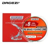 DAGEZI 8 нитей 300 м/330YDS с подарком супер сильные 10-80LB брендовые рыболовные лески 100% PE плетеная леска гладкая леска