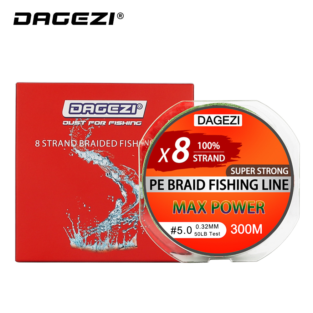 Dagezi 8 strand 300 m/330yds com presente super forte 10-80lb marca linhas de pesca 100% pe linha de pesca trançada linha suave