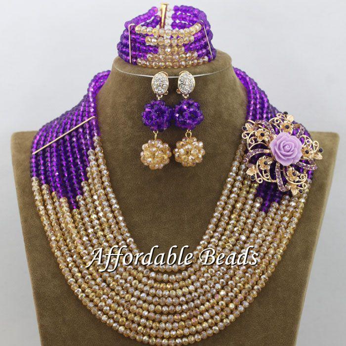 Purple Champagne Bridal Wedding Jewelry Set Best Dubai Gold Jewelry Set Handmade Design Wholesale Free Shipping ABE134Purple Champagne Bridal Wedding Jewelry Set Best Dubai Gold Jewelry Set Handmade Design Wholesale Free Shipping ABE134