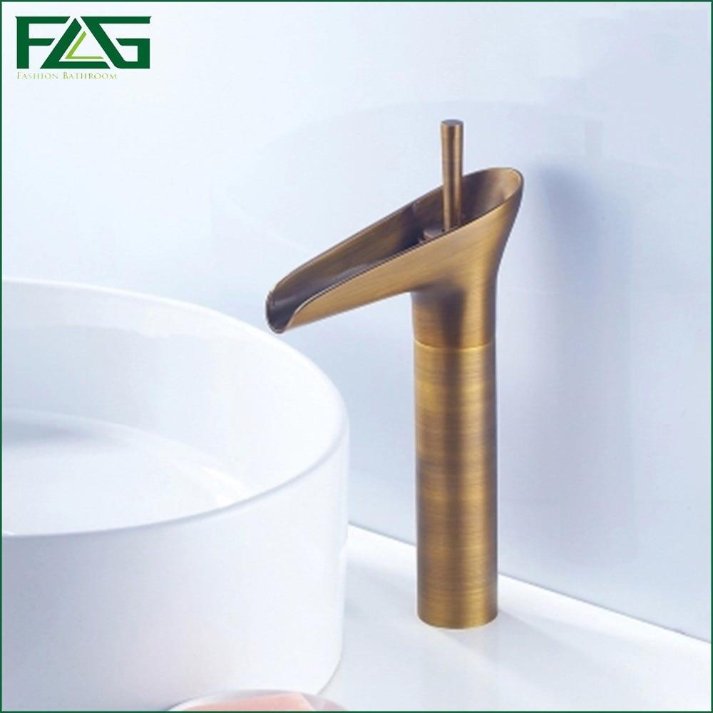 FLG European Basin Faucet Lavatory Vessel Antique Brass Bathroom Waterfall Vintage Basin Sink Faucet Retro Mixer Basin Tap M154