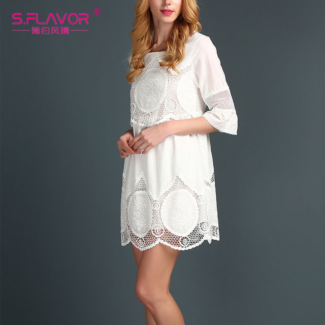 S.FLAVOR Brand Summer Dress  2017 womens sexy dresses Above Knee Mini Lace vestidos women summer  women cotton dress with lace