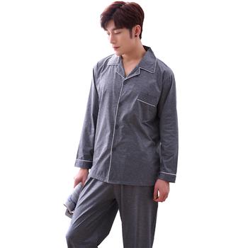 Jesienna i zimowa męska piżama koreańska bielizna nocna męska luźna bawełniana rozpinana męska odzież wierzchnia tanie i dobre opinie Drukuj Piżamy Pełna Przycisk Skręcić w dół kołnierz REGULAR Mężczyźni Poliester COTTON Elastyczny pas