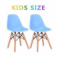 Goplus Set Of 2 Kids Dining Side Chair Armless Molded Plastic Seat Wood Dowel Leg Modern