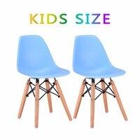 Goplus Set Of 2 Kids Dining Side Chair Armless Molded Plastic Seat Wood Dowel Leg Modern